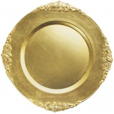 """13"""" Round Royal Gold Leaf Embossed Plastic Charger Plate"""