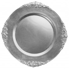 "13"" Round Royal Silver Leaf Embossed Plastic Charger Plate"