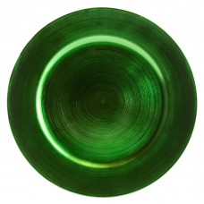 """13"""" Green Round Plastic Charger Plate"""