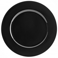 "13"" Black Round Plastic Charger Plate"