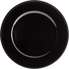 """13"""" Black Round Plastic Charger Plate with Beaded Rim"""