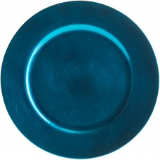 """13"""" Round Royal Blue Beaded Plastic Charger Plate"""