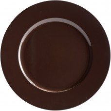 """13"""" Brown Round Plastic Charger Plate"""