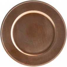 """13"""" Copper Round Plastic Charger Plate with Beaded Rim"""