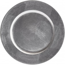 "13"" Round Silver Plastic Charger Plate"