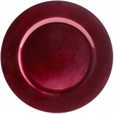 """13"""" Round Red Plastic Charger Plate"""