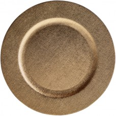 """13"""" Gold Faux Leather Melamine Charger Plate"""