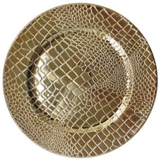 "13"" Croc Gold Polypropylene Electroplated Charger Plate"