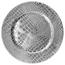 """13"""" Croc Silver Polypropylene Electroplated Charger Plate"""