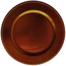 """13"""" Round Copper Beaded Plastic Charger Plate"""