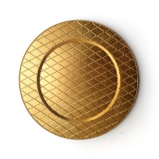 """13"""" Round Plaid Gold Acrylic Charger Plate"""