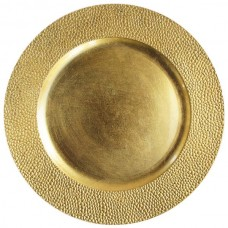 "13"" Round Gold Pebbled Plastic Charger Plate"