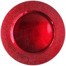 """13"""" Round Red Pebbled Plastic Charger Plate"""