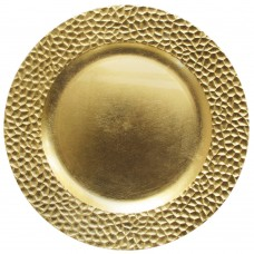"13"" Round Gold Hammered Plastic Charger Plate"