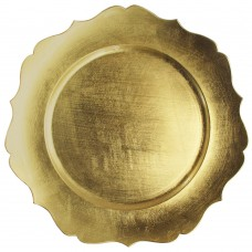 """13"""" Round Gold Scalloped Edge Plastic Charger Plate"""