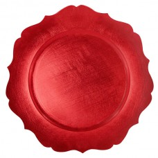 """13"""" Round Red Scalloped Edge Plastic Charger Plate"""