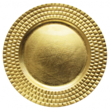 """13"""" Round Gold Tiled Plastic Charger Plate"""