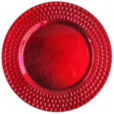 """13"""" Round Red Tiled Plastic Charger Plate"""
