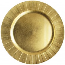 """13"""" Round Gold Geometric Plastic Charger Plate"""