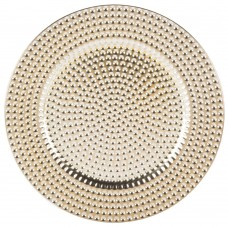 """13"""" Round Gold Beaded Plastic Charger Plate"""