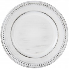 """14"""" Round White Beaded Antique Melamine Charger Plate"""