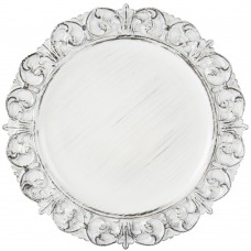 "14"" Round White Embossed Antique Melamine Charger Plate"