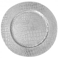 """13"""" Crocodile Silver Melamine Charger Plate"""