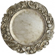 """14"""" Round Silver Aristocrat Plastic Charger Plate"""
