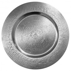 "13"" Silver Metal Hammered Charger Plate"