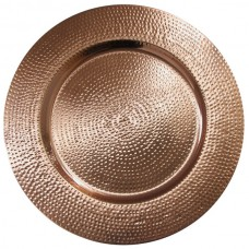 """13"""" Copper Metal Hammered Charger Plate"""