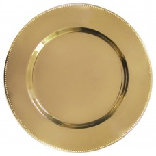 """13"""" Gold Metal Charger Plate with Beaded Rim"""
