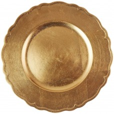 """13"""" Round Gold Regency Plastic Charger Plate"""
