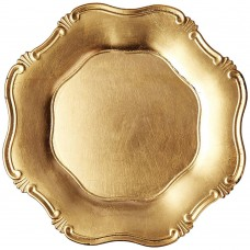 """13"""" Round Gold Baroque Plastic Charger"""