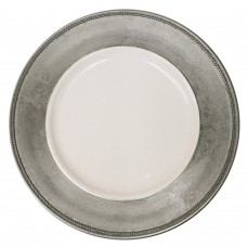"13"" Round Silver Rim Plastic Charger Plate"