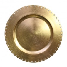 """13"""" Round Gold Jeweled Rim Plastic Charger Plate"""