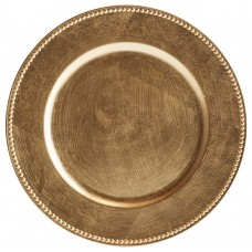 """13"""" Gold Round Plastic Charger Plate with Beaded Rim"""