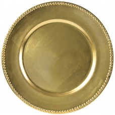 "13"" Beaded Rim Lacquer Round Gold Charger Plate"