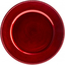 """13"""" Round Red Beaded Plastic Charger Plate"""