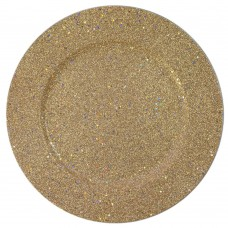 """13"""" Round Gold Glitter Plastic Charger Plate"""