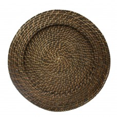 """13"""" Round Brick Brown Rattan Charger Plate"""
